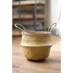 Yellow Zig Zig Seagrass Basket – Small