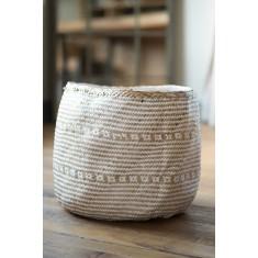 Natural & White Seagrass Basket – Large