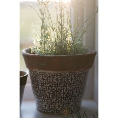 Green Terracotta Rustic Planter - Large