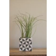 Grey & White Square Planter