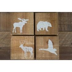 Wild Animals Wooden Coasters Set of 4