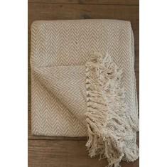 Cream Herringbone Throw - 130x150cm