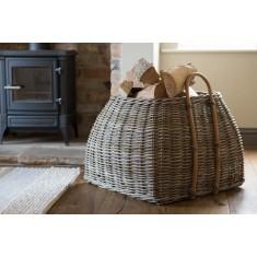 Kubu Rattan Square Log Basket - Large