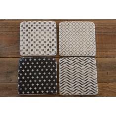 Black & Grey Stone Coasters Set of 4