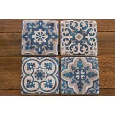 Blue Patterned Stone Coasters Set of 4