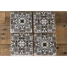 Black Patterned Stone Coasters Set of 4