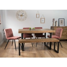 Brooklyn Industrial 140-180cm Extending 6-Seater Dining Bench Set (Capri Pink Chairs)