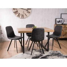 Arizona Industrial Mango 4-Seater Dining Set - Charcoal Grey
