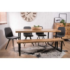 Arizona Industrial Mango 6-Seater Dining Bench Set - Charcoal Grey