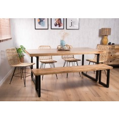 Havana Rattan 6-Seater Dining Bench Set - Imari Industrial Table