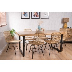 Havana Rattan 6-Seater Dining Set - Imari Industrial Table