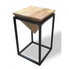 Imari Industrial Light Mango Pyramid End Table