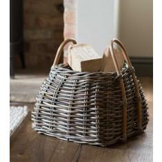Kubu Rattan Square Log Basket - Small
