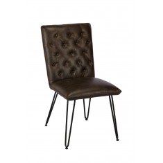 Manhattan Leather Dining Chair - Dark Brown