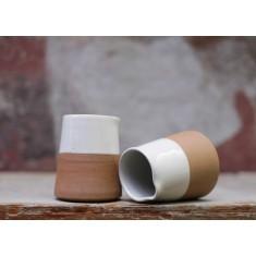 Mali Ceramic White & Terracotta Slanting Jug