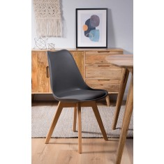 Scandi Pyramid Dining Chair With Pad - Dark Grey