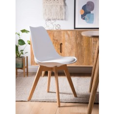 Scandi Pyramid Dining Chair With Pad - White