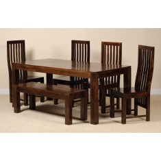 Dakota Dark Mango 6 Seater Dining Set With Bench