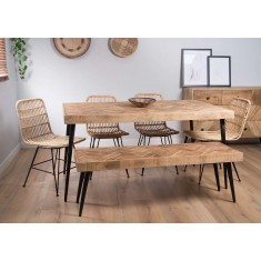 Urban Industrial Mango 6-Seater Dining Bench Set (Havana Chairs)