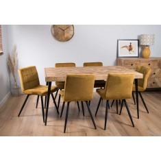 Urban Industrial Mango 6-Seater Dining Set (Ochre Chairs)