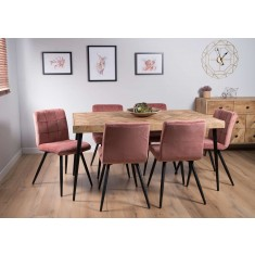 Urban Industrial Mango 6-Seater Dining Set (Soft Pink Chairs)
