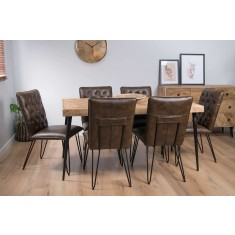 Urban Industrial Mango 6-Seater Dining Set (Manhattan Chairs)