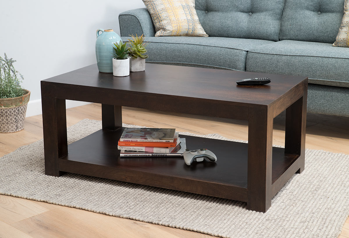 Solid Dark Walnut Mango Open Coffee, Tables For Living Rooms