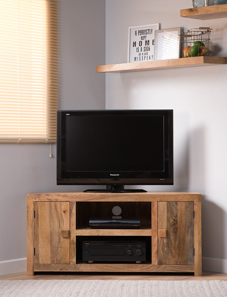 Dakota Light Mango Corner Tv Unit Cabinet Shelves Solid Wood Indian