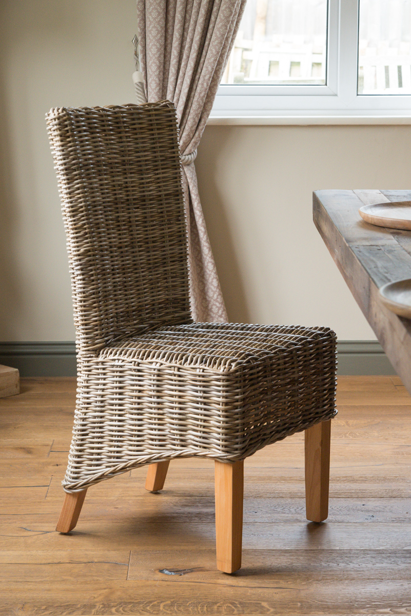 Kubu Grey Rattan Wicker Dining Chair Light Leg Handmade Furniture Ebay