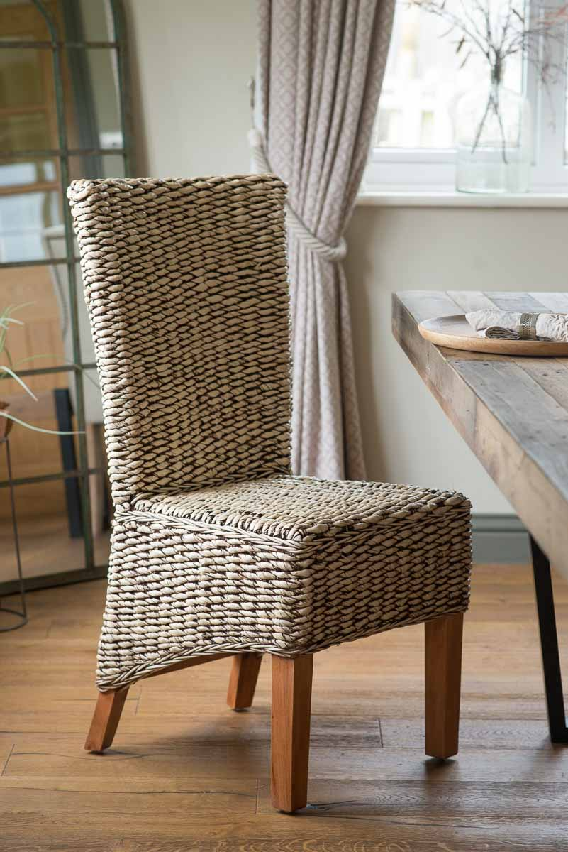 Rattan Wicker Dining Room Chair Banana Leaf Weave Solid