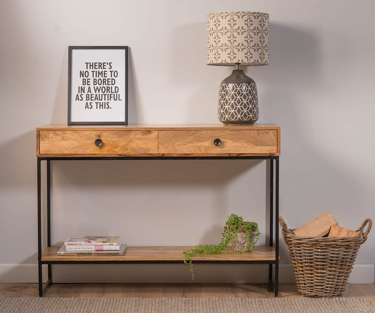 Solid Light Mango Wood Metal Console Hall Table Industrial