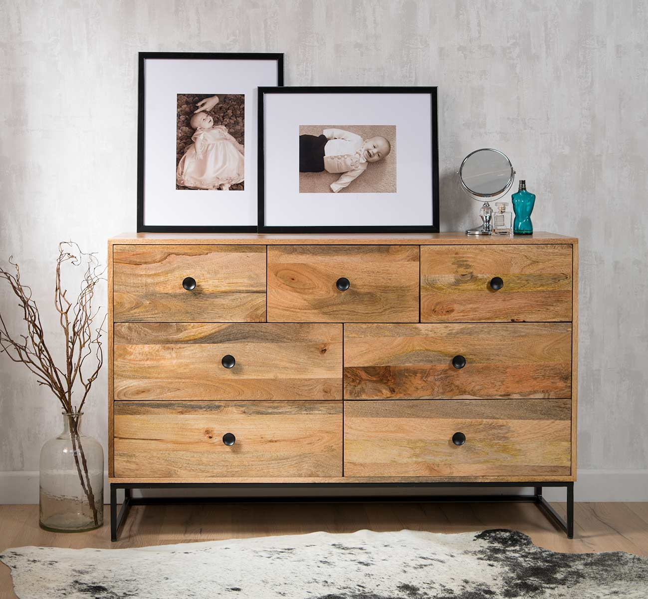 Large Industrial Light Mango Chest Of Drawers Contemporary Bedroom Furniture Ebay
