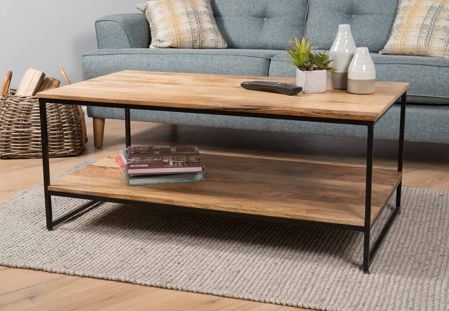 Details About Industrial Light Mango Coffee Table 2 Sizes Contemporary Modern Furniture
