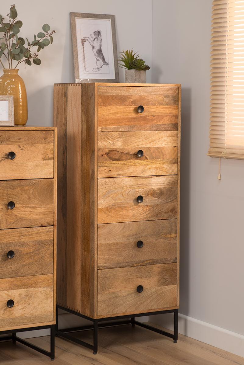 Industrial Light Mango Wood Tallboy Chest Of Drawers Ebay