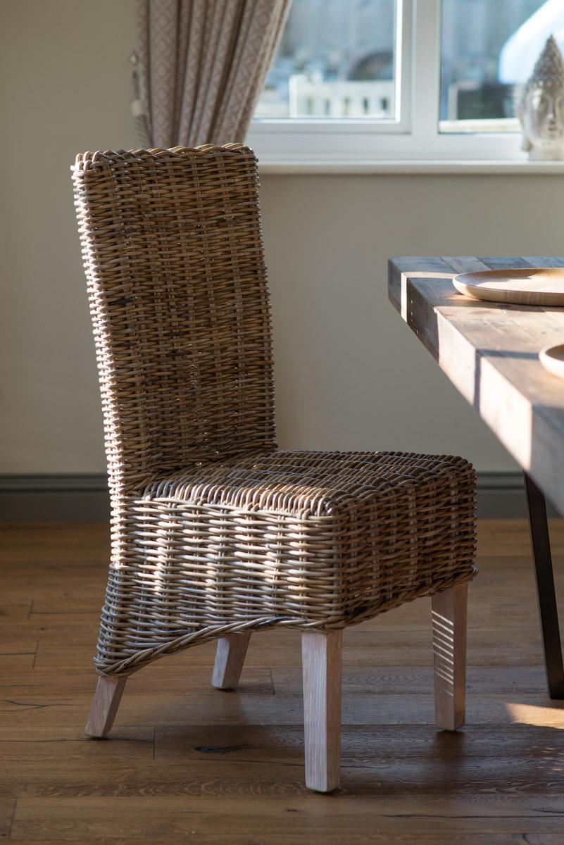 Rattan Wicker Dining Room Chair Kubu Grey Weave Solid