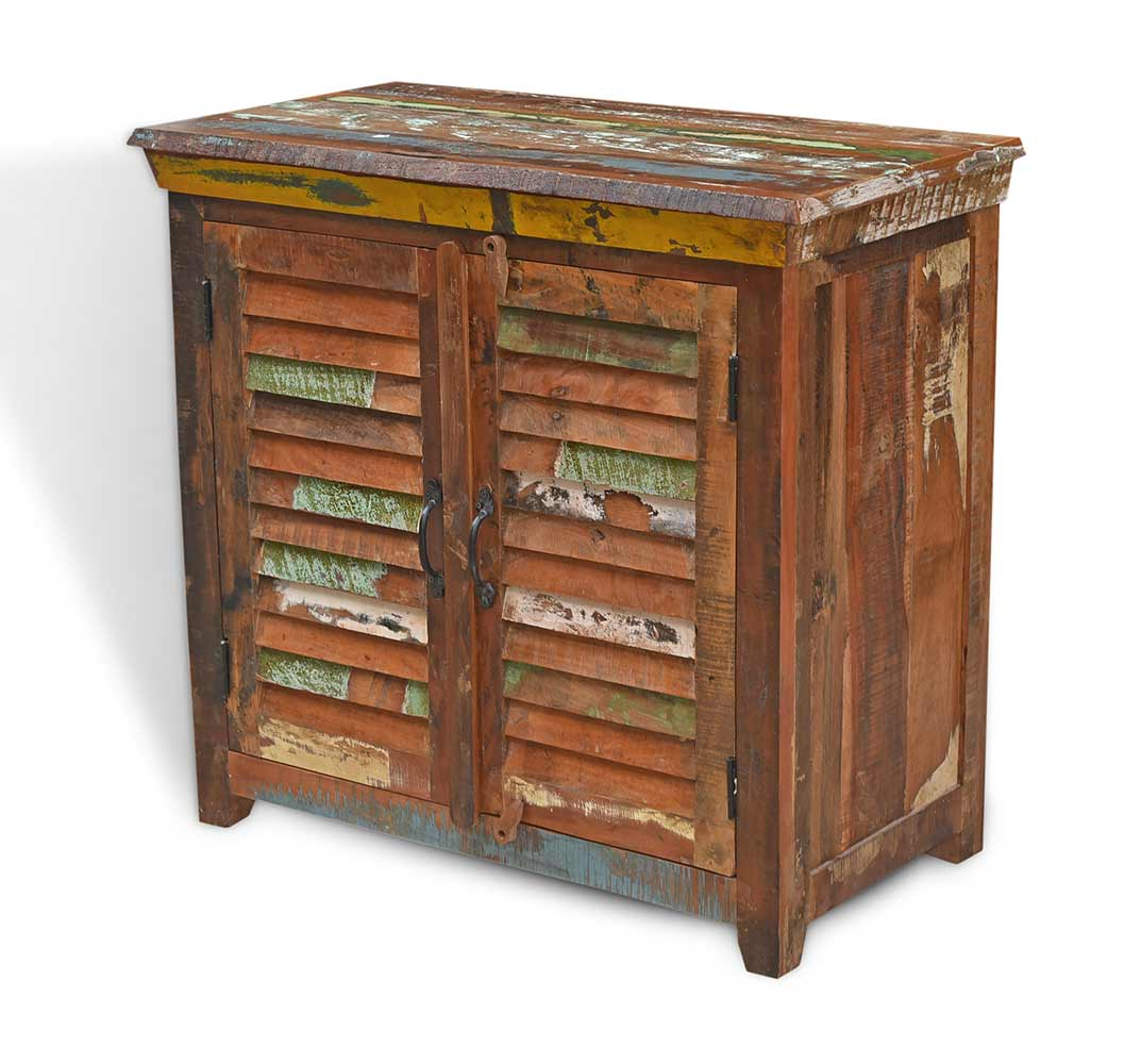 Solid Recycled Wood Small Sideboard With Doors Painted Recycled