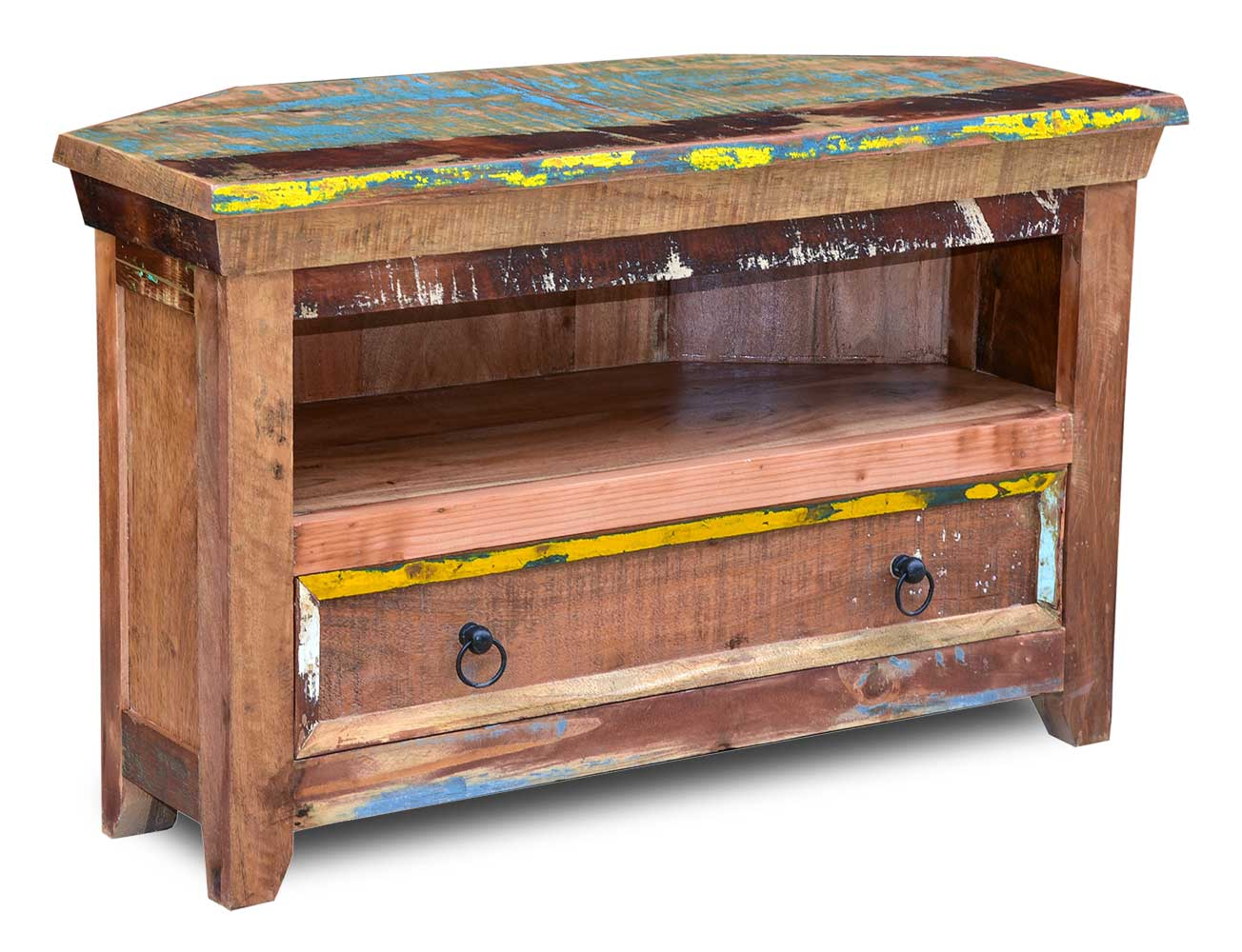Reclaimed Solid Wood Small Corner Tv Unit Indian Recycled